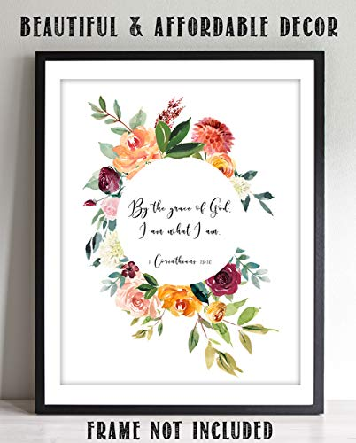 """""""By The Grace of God, I Am What I Am"""" 1 Cor 15:10-Bible Verse Wall Art-8x10""""-Scripture Wall Print-Ready to Frame. Elegant Floral Design. Home Decor-Office Décor-Christian Gifts. God"""
