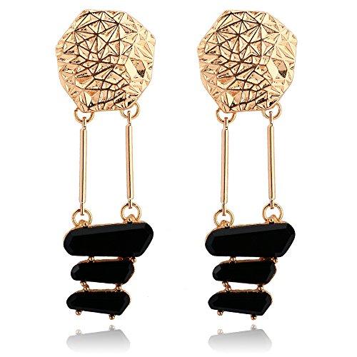Diamond Black Vintage Bangles (BEMI Personality 18K Gold Black Crystal Glass Stud Earring Cool Statement Dangle Drop Earrings for Women Stud)