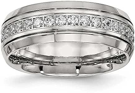 8mm Stainless Steel Polished Half Round Grooved CZ Ring - Ring Size Options: 10 11 12 13 6 7 8 9