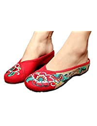 Tianrui Crown Women's Chinese Embroidery Flats Shoes sandal slippers