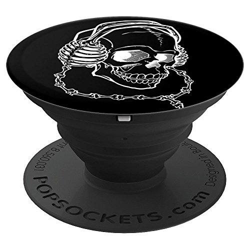 Bones Headphone Skull Skeleton Calavera Halloween Drawing - PopSockets Grip and Stand for Phones and Tablets