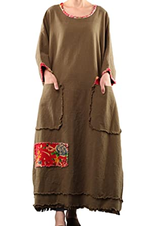 247ff2cd6ef Mordenmiss Women s Bat Sleeve Cotton Linen Clothing Plus Size Dress Brown  Green at Amazon Women s Clothing store
