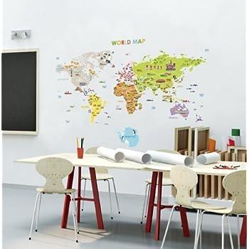 Amazoncom Labelled Large World Map Vinyl Adhesive Wall Sticker