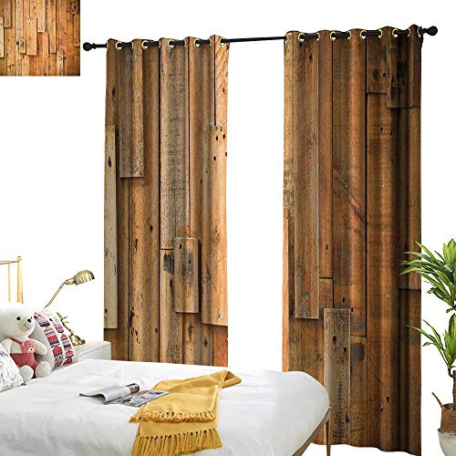 WinfreyDecor Thermal Curtains Wooden Lodge Style Teak Hardwood Wall Planks Image Print Farmhouse Vintage Grunge Design Artsy Privacy Protection W96 x L84 Brown
