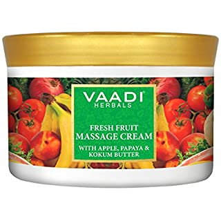 Vaadi Herbals Fresh Fruit Massage Cream With Apple, Papaya & Kokum Butter - All Natural - Herbal Cream - (Pack Of 1 X 500 Gm) (17.64 Oz)