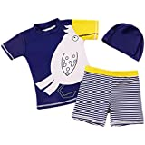 Eleanos Baby Boys Short Sleeve 3 Piece Sun Protection Rashguard Swim Suit