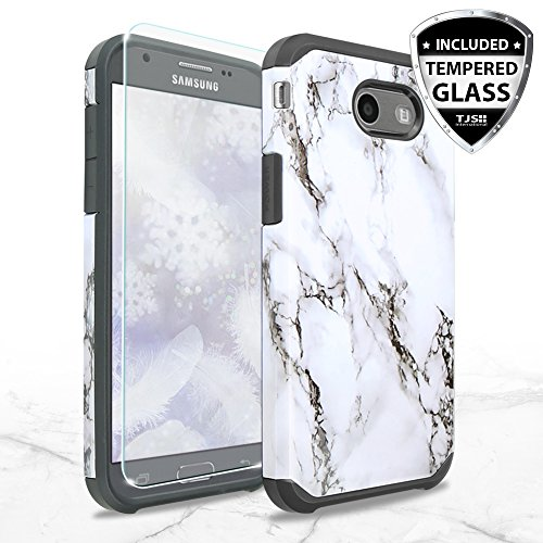 Samsung Galaxy J7 Sky Pro Case, Galaxy J7 Perx Case, Galaxy J7 V Case, Galaxy Halo Case, Galaxy J7 Prime Case, with TJS [Tempered Glass Screen Protector] Hybrid Shockproof Marble Case Armor (White) (White Case Protector)