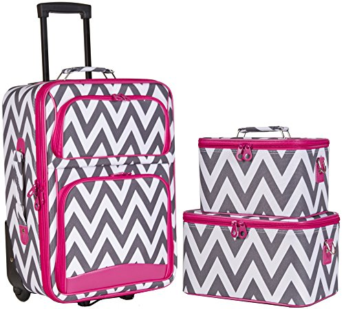 Ever Moda Chevron 3-Piece Carry On Luggage Set with Wheels for Travels...