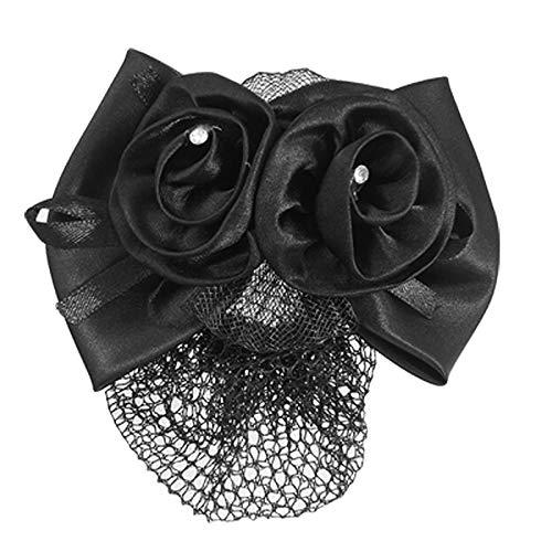 Polyester Bow Ribbon Metal Barrette Snood Net Bun Cover Hair Clip for Women M2F8]()