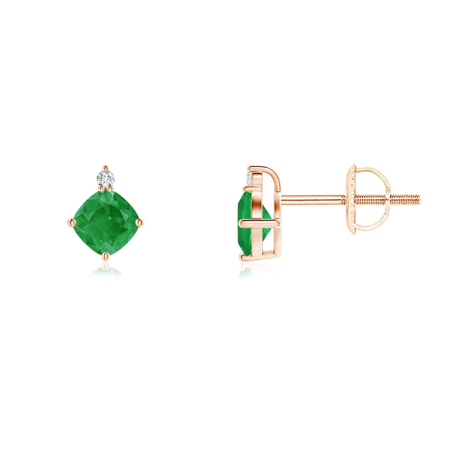 4mm Emerald ANGARA ANG-E-SE1149ED-WG-A-4 Sideways Cushion Emerald Studs with Diamond Accent