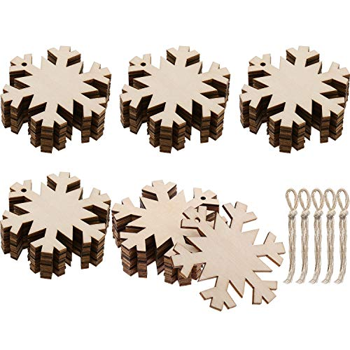 (Jetec 50 Pieces Wooden Snowflakes Unfinished Wood Ornaments Cutouts Christmas Wood Snowflake with 50 Pieces Ropes for Christmas Decoration Christmas Tree Hanging Embellishments and Craft DIY)