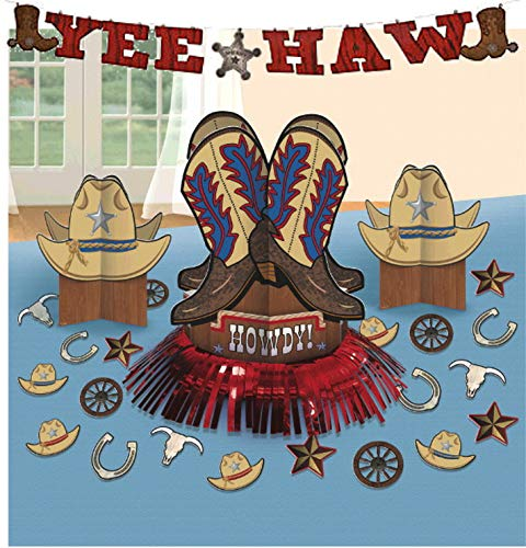 Curated Nirvana Western Party Bundle | 20 Decorations, 3 Centerpieces, 1 Banner | Great for Wild West Cowboy Theme, Birthday, Halloween, Cowgirl Costume -