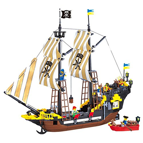 Adventure Pirate Ship Building Blocks Set Model 590+pcs Educational DIY Construction Bricks Toys For Children