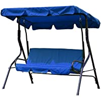 3 Seater Garden Swing Replacement Canopy Cover Heavy Duty UV Block Sun Shade Waterproof for Outdoor, 195x125cm (Blue)