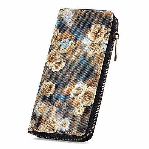 Print Wristlet - RUNWINDY Womens Wristlets Wallet Floral Print Zip around Long Clutch Purse Handbags