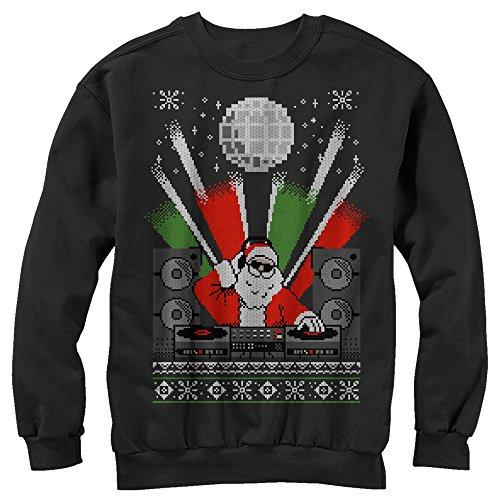 Lost Gods Men's Christmas DJ Santa Ugly Sweater Black Sweatshirt