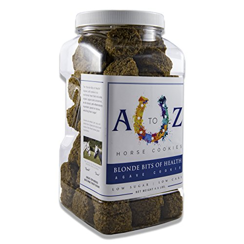 Horse Cookie Treat: Blond Bits Of Health Flavor by A to Z Horse Cookies, Low Carb Low Sugar Softer Treats, Organic, Great For All Horses And Excellent For Those With Metabolic Conditions, 4.5 lbs Jar ()