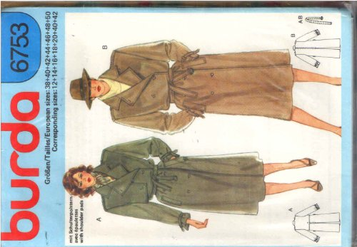 Inverted Pleat Coat - Burda 6753 Sewing Pattern for Classic Lined or Unlined Trench Coat with Epaulets, Back Inverted Pleat, Belt, Optional Right Side Overlay Button Flap. Notched Convertible Collar, Wrist Buccle Straps. Slant Band Inset Pockets, or back overlay.