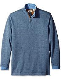 Haggar Men's Big-Tall Houndstooth Knit Quarter Zip Sweater