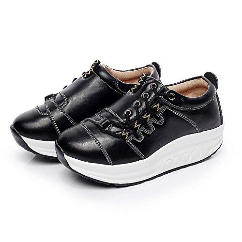 Shenn Damen Plateau knöchelhoch Schnüren Komfort Mode Sneaker Schwarz