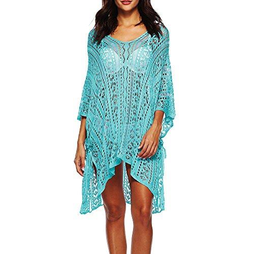 Yucode Women Bathing Suit Cover Up Lace Crochet Pool Swim Beach Dress Blue