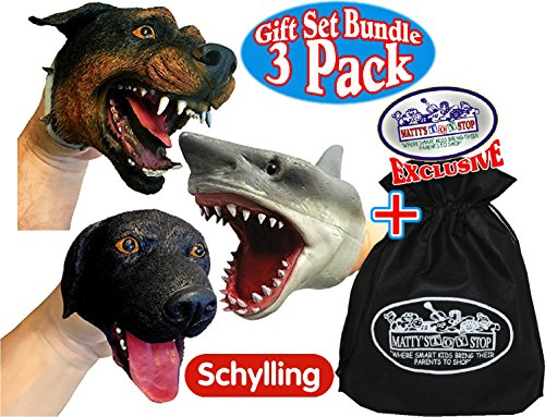 Schylling Shark & Dogs Stretchy Hand Puppets Gift Set Bundle with Exclusive