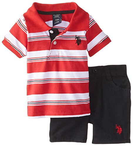 U.S. Polo Assn. Baby Boys' Striped Jersey Polo and Canvas Short, Engine Red, 24 Months