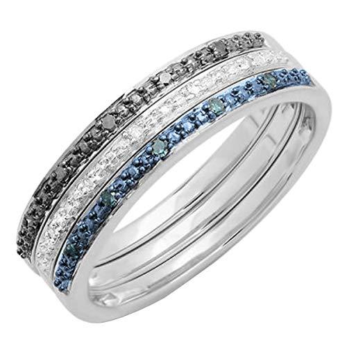 0.10 Carat (ctw) Black, Blue & White Diamond Wedding Ring Set 1/10 CT, Sterling Silver, Size 7.5 (Blue Diamond Wedding Ring Set)