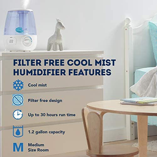 51M53YGLHcL. AC - Vicks Filter-Free Ultrasonic Visible Cool Mist Humidifier For Medium Rooms, 1.2 Gallon With Auto Shut-Off, 30 Hours Of Moisturized Air, Use With Menthol Scented Vicks VapoPads