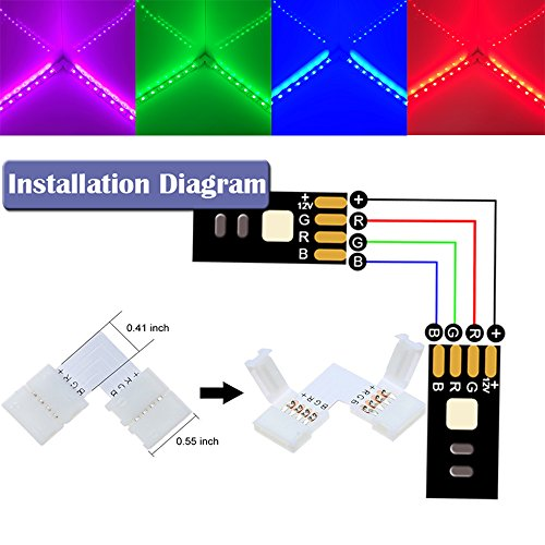 FSJEE 10mm 5050 RGB LED Strip Light Connectors Kits with 10PCS L Shape 4 Pin Right Angle Corner Solderless Connector and 10PCS Solderless Wire 4 Pin 10mm Wide Strip to Strip Jumper by FSJEE (Image #3)
