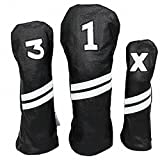 Sunfish Leather Headcover Set 1-3-X Black and White