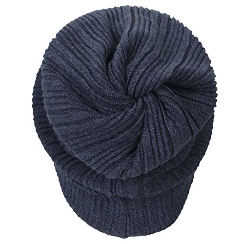 Color ililily Beanie Wrinkle Stripe Neck Solid Cap Skull Snood Blue Hat RaraXqwHx