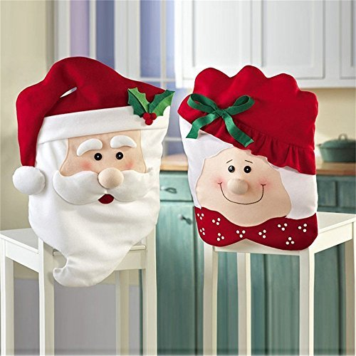 For Colorful and Charming Beautiful Holiday Chair Decoration and Gift Giving!Set of 2 detailed Santa Claus Kitchen Chair Slip Covers includes 1 Mrs and 1 Mr Santa Claus. Transforms any Christmas breakfast, coffee, tea, dining or party table. ...