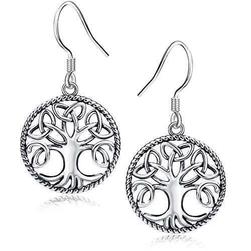(Apotie 925 Silver Jewelry Antique Celtic Knot Tree of Life Drop Hook Earrings Pendant Necklace for women girls (Earrings))