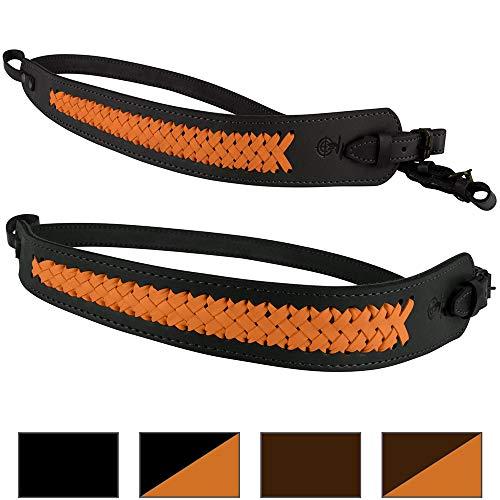 BronzeDog Genuine Leather Rifle Sling Braided Shotgun Strap Durable Hunting Shoulder Belt (Black Orange Braiding)