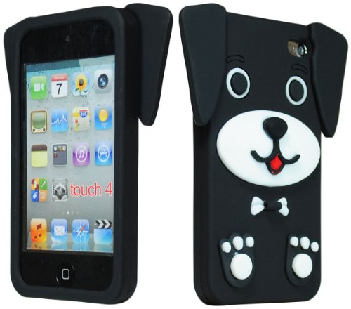 Bastex Cute 3D Silicone Puppy Dog Case for Apple iPod Touch 4, 4th Generation - Black