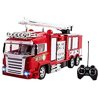 RC Fire Truck Toy Rescue Engine Radio Remote Control w/ Music and Flashing Lights Rechargeable Battery
