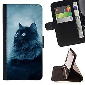 Momo Phone Case / Flip Funda de Cuero Case Cover - Gato peludo de pelo largo gris Blue Eyes felina - Samsung Galaxy J1 J100