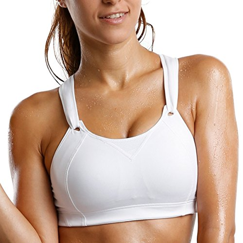 La Isla Women's High Support Wirefree Rebound Racer Pro Sports Bra White 36DD