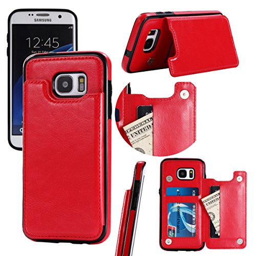 Scheam Samsung Galaxy S7 Edge Wallet Case, [Folio Style ] Premium Samsung Galaxy S7 Edge Card Cases Stand Feature for Samsung Galaxy S7 Edge [Red ] Covers Flip Cover with Covers ()