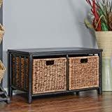 Heather Ann Creations The Kona Collection Wooden Bamboo Living Room Entry Way Storage Bench, Black with Brown Drawers