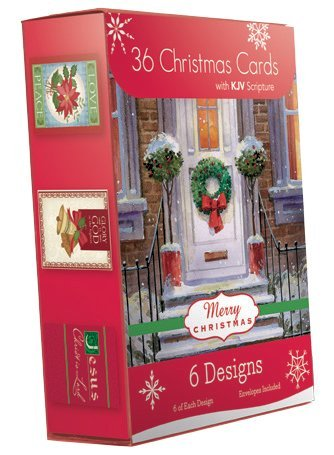 Christmas Holiday Boxed Cards Religious Xmas Box Set 6 Assorted Designed Value Cards 36 Count with KJV Scriptures