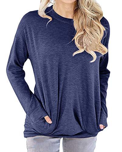 lymanchi Women Round Neck Sweatshirts Long Sleeve Lightweight Loose T Shirt Tops Blue XL