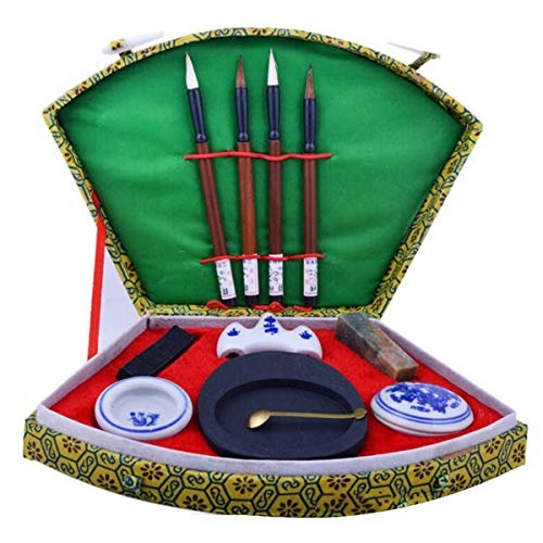 Chinese Calligraphy Writing Brush Pen Ink Mixing Inkstone Painting Box - Stationery Supplies Pens & Writing Supplies -1 x Chinese Calligraphy Set