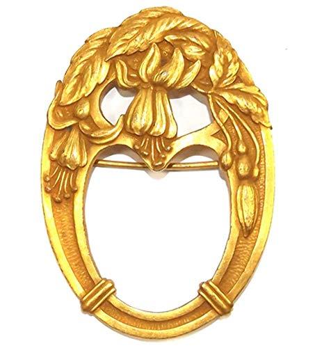 (Antique Art Nouveau Pierced Open Work Oval Stylized Flower Basket Brooch Pin)