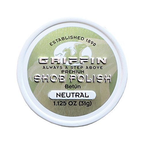 Griffin Leather Shoe Polish Neutral 1.125 oz Made in the USA Shoe Shine, Polish, Restore