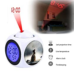 Projection Alarm Clock Wake Up Bedroom with Data and Temperature Display Talking Function, LED Wall/Ceiling Projection,Customize The pattern-078.Cat, Window, Light, Pet, Feline, Animal, Siamese