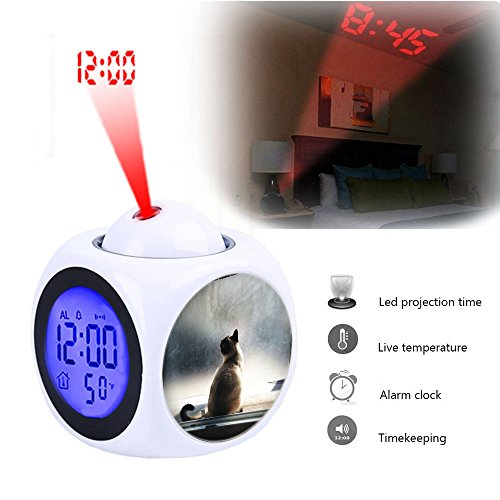 Projection Alarm Clock Wake Up Bedroom with Data and Temperature Display Talking Function, LED Wall/Ceiling Projection,Customize the pattern-078.Cat, Window, Light, Pet, Feline, Animal, (Pet Animal Alarm)
