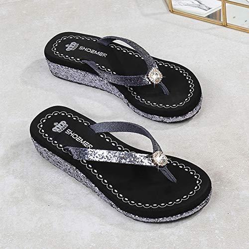 Pantofole Scarpe Strass A Da 39 Con L'estate Spiaggia Infradito Tallone Comodo Per b Antiscivolo Mryhpe Donne TqFx5fT