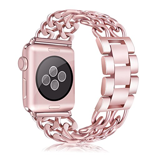 Apple Watch Bands (38mm/42mm), BFYTN Premium Stainless Steel Watch Band, Cowboy Style Bracelet Replacement Strap for Both Apple Watch Series 1 and Series 2, 38mm Rose Gold
